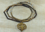 Three Vintage Fabricated Brass Bead Necklaces from West Africa