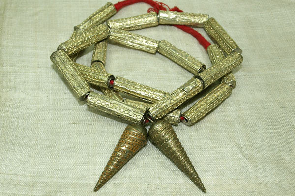Vintage Brass Yoruba Necklace with 2 Pendants