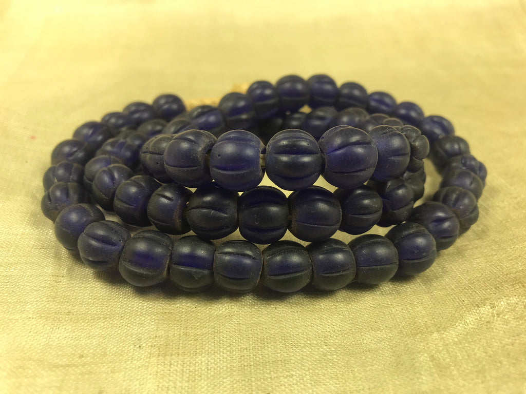 Strand of Vintage Blue Fluted Beads from Nagaland, India