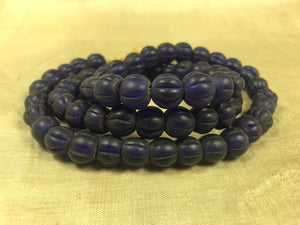 Strand of Vintage Blue Fluted bead from Nagaland, India