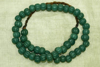 Strand of Vintage Teal/Green Fluted Beads from Nagaland