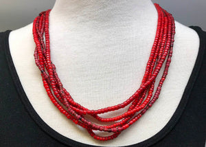Vintage Five-Strand Glass Bead Necklace from Nagaland, India
