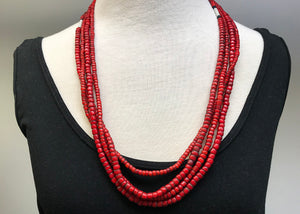 Vintage Glass Bead Necklace from Nagaland, India