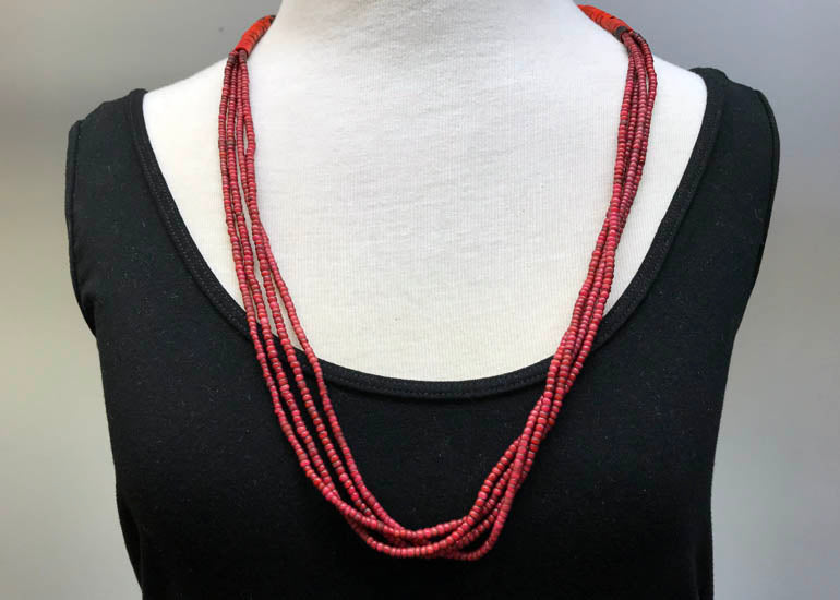 Vintage Four-Strand Glass Bead Necklace from Nagaland, India