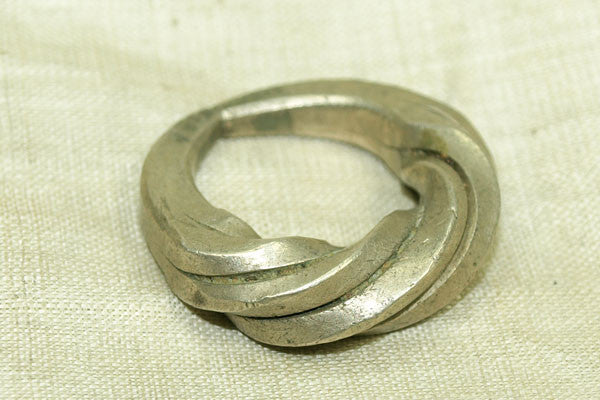 Large Chunky Antique Silver Hair Ring from Niger