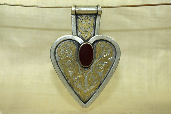Large Turkman Sterling Pendant with Carnelian Stone