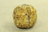 Antique Ivory Ojime floral bead from Japan