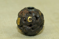 Antique Wood and gold ojime bead from Japan