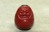 "Antique Cinnabar Ojime ""Daruma"" bead from Japan"