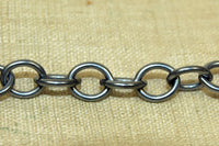 6x7mm Round Oval Oxidized Silver Chain