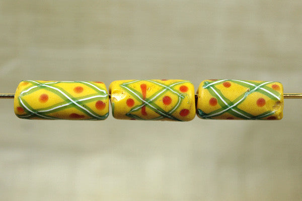 Yellow Venetian beads with stripes and dots