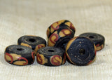 Antique Red, Yellow, and Black Glass Disc Glass Beads
