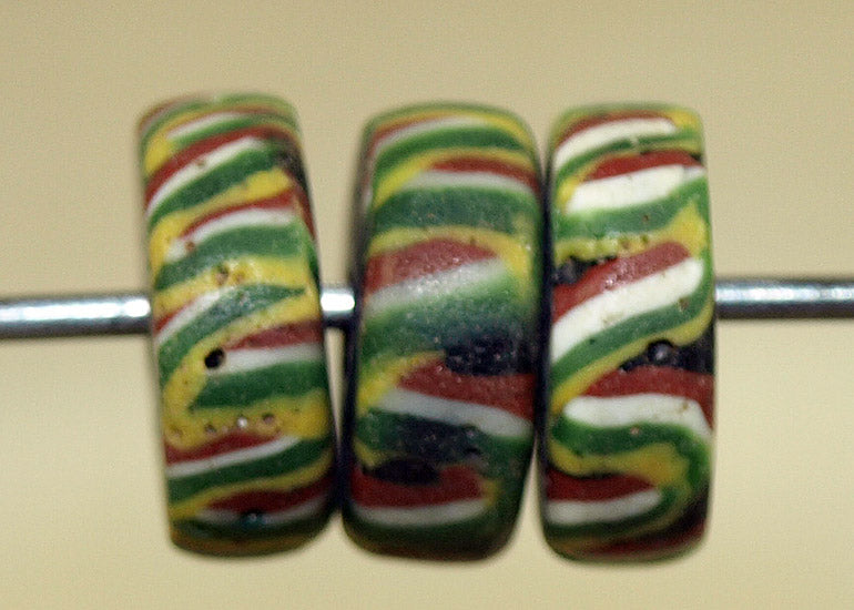 Antique Red, Green, Yellow, and Black Glass Disc Glass Beads