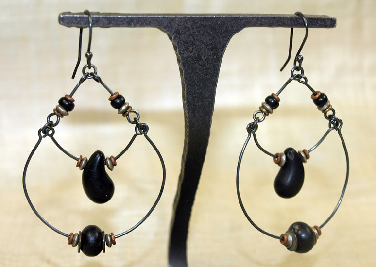 "Pair of Antique Black Czech Glass ""Wedding Bead"" Earrings from Ruth!"