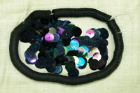 8mm Black Vintage Sequins, colorful AB