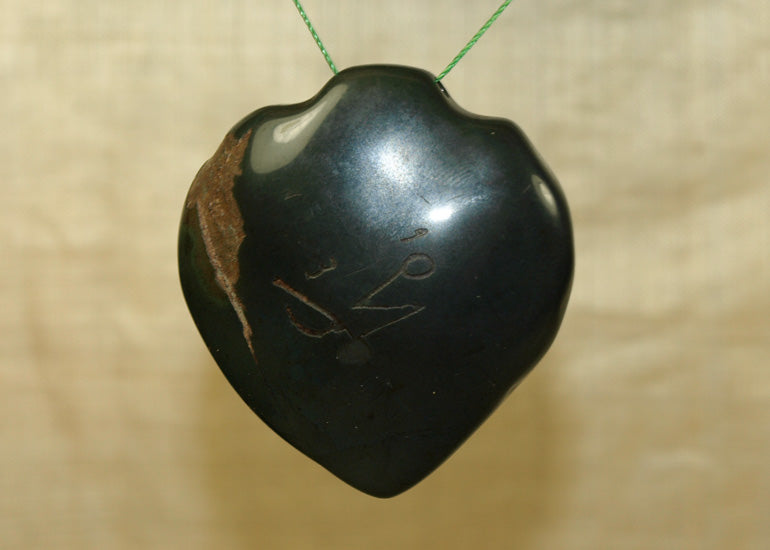 Large Antique Bloodstone Heart Pendant