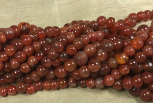 Dark Carnelian Stone Bead strand, Antique