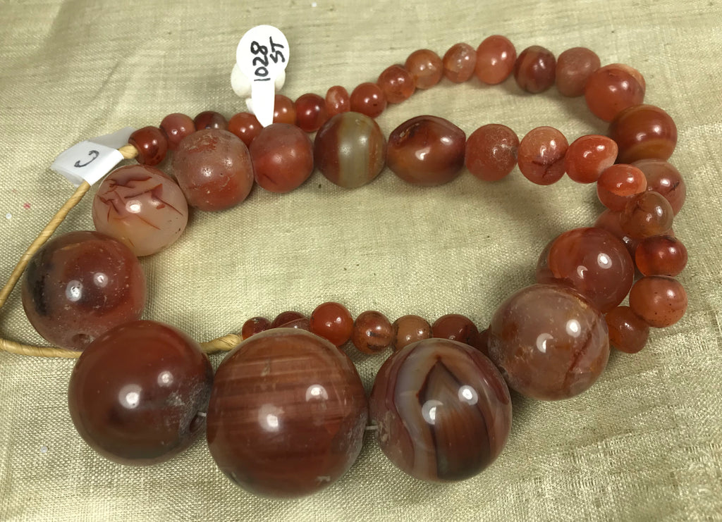 Strand of Antique Indian Carnelian Stone Beads