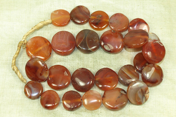 Vintage Carnelian Agate Stone Tabular Beads from India
