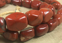 Strand of Large, Gorgeous Antique Nigerian Red Jasper Beads