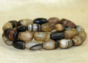 Strand of Vintage Striped Agate Beads from India