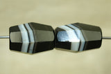 Pair of antique Idar-Oberstein Banded Agate Beads