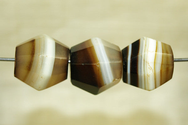 Three antique Idar-Oberstein Banded Agate Beads