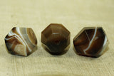 Three cool, antique Idar-Oberstein Banded Agate Beads