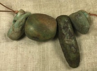 Short Strand of 6 Rare, Ancient Amazonite Beads