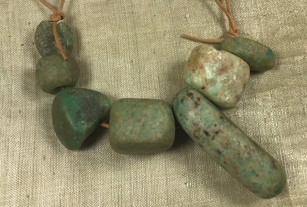 Short Strand of 7 Rare, Ancient Amazonite Beads