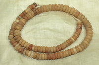 Strand of Ancient Carnelian and Quartz Rondelle Beads