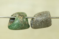 Pair of Dark Green Amazonite Beads