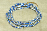 Strand of 7º White with Blue Stripe Seed Beads