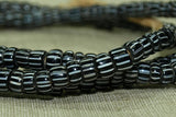Jet Black with White Stripes Seed Beads, 6º