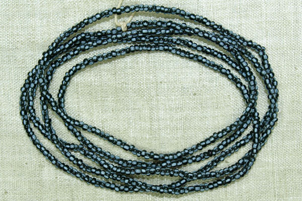 Jet Black with Pale Blue Stripes Seed Beads, 12º