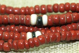 Brick Red Seed Beads with Sprinkled Black & White, 12º