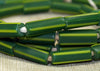 Green with Yellow Stripes Glass Bugle Beads