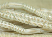 Venetian Gooseberry beads; Clear with White Lines