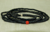 Jet Black 10º Seed Beads with random Coral Color Bead