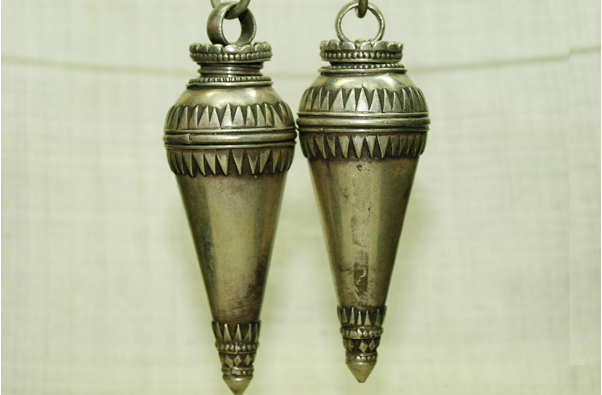 Pair of Large Silver Pendants from India