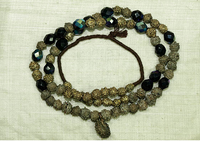 Yoruba Fabricated Brass Necklace with Firepolished Beads