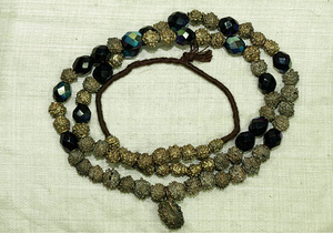 Yoruba Fabricated Brass Necklace with Firepolish Beads