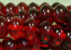 Vintage Czech Ruby Glass Fat Rondelles Beads