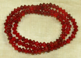 Vintage Czech Ruby Glass Tin-Cut Bicone Beads