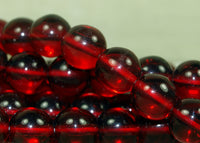 Vintage Czech Ruby Glass Round Durk Beads