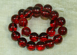 Vintage Czech Ruby Glass Round Druk Beads