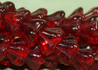 Vintage Czech Ruby Glass Trumpet Flower Beads