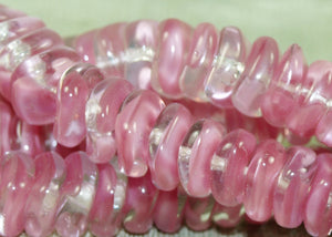 Vintage German Dusty Pink Wavy Rondelles Beads