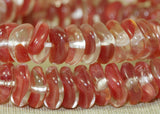 Vintage German Dusty Red Wavy Rondelles Beads
