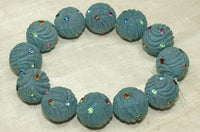 Funky Vintage 30's Resin Beads with Rhinestones